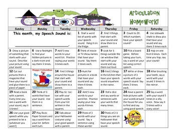 October Articulation Calendar