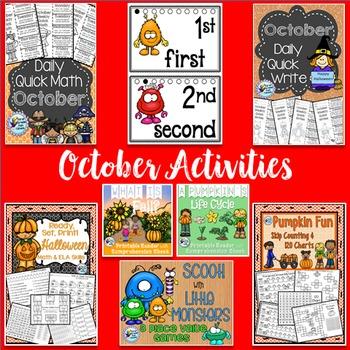 Fall Activities ELA and Math Bundle for Halloween Activities