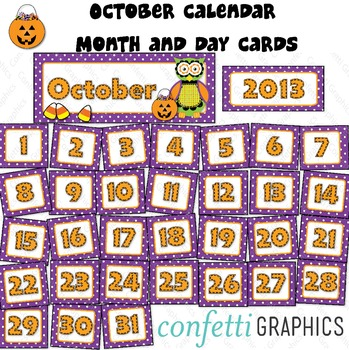 October Calendar Owl Polka Dot Set Days Of The Week Month