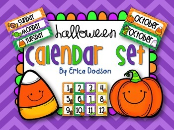 October Halloween-themed Calendar Set in Chevron