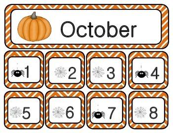 October Chevron Calendar Set