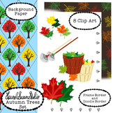 Autumn Trees Clip Art Maple Leaves Tree Fall Rake Commerci
