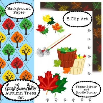 Autumn Trees Clip Art Maple Leaves Tree Fall Rake Commerci