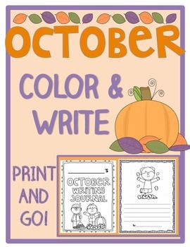 October Color & Write (Fall Writing Prompts Journal for K-2)