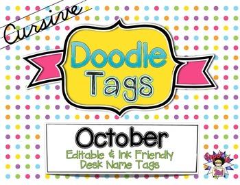 October Cursive Doodle Tags - Ink Friendly Editable Desk N