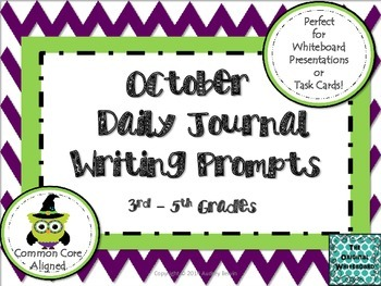 October Daily Journal Writing Prompts for Whiteboard Prese
