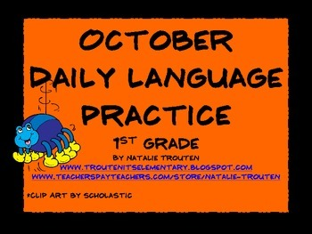 October Daily Language Practice and Assessment for 1st Grade