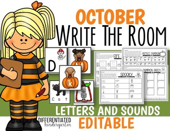 October EDITABLE Letters and Sounds Write the Room Fun-Dif