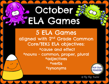 October ELA Games - nouns, verbs, adjectives, synonyms, ca