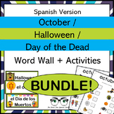 October Halloween & Dia de los Muertos Word Wall & Activit