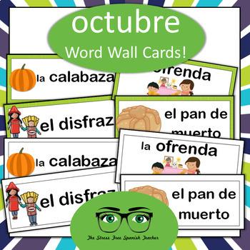 October Halloween & Dia de los Muertos Word Wall (Spanish