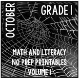 October Halloween First Grade Math and Literacy NO PREP Co