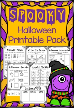 October Halloween Printable Pack - Literacy and Math NO PR