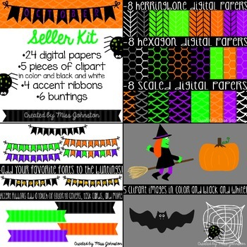 October (Halloween) Seller Kit {Clipart, Papers, Buntings,