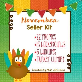November Seller Kit {Clipart, Papers, Buntings, Frames}