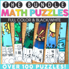 #falloween Monthly Math Puzzles Growing Bundle