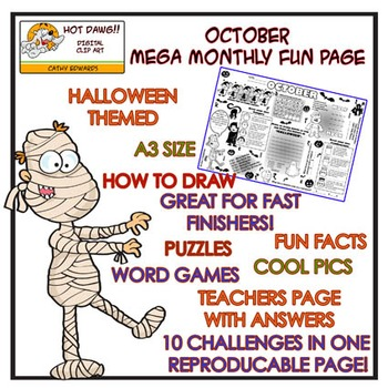 October Halloween Mega Monthly Fun Page - Hot Dawg Illustration