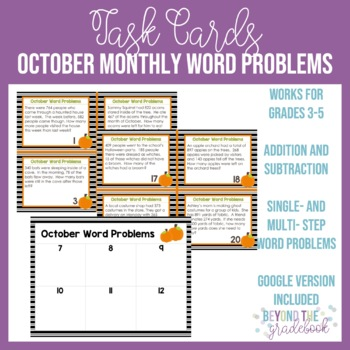 October Monthly Word Problems