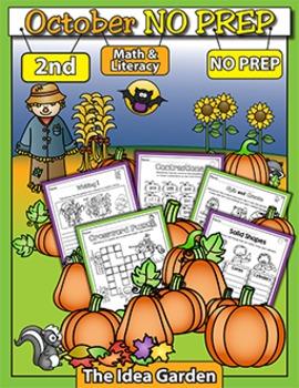 October NO PREP - Math & Literacy (Second)