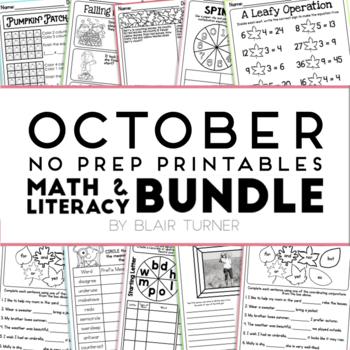 October NO PREP Printables: Math and Literacy BUNDLE
