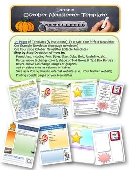 October Newsletter Editable Template