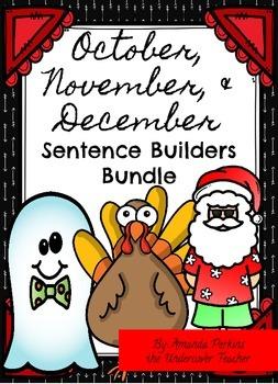 October November Thanksgiving December Sentence Builders B