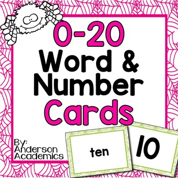 October Number Cards: 0-20 Numbers and Number Words