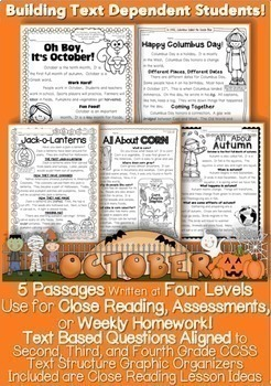 October Passages w/ CCSS Text Based Questions Close Readin