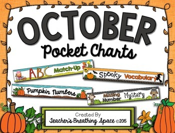October Pocket Charts --- Four Math and Literacy Pocket Ch