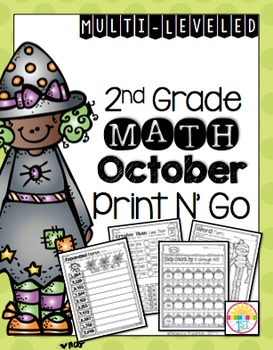 October (NO PREP) Print and Go 2nd Grade Math