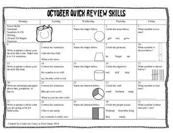 October Quick Review Skills Calendar