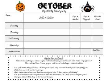 October Reading Log (Weekly)
