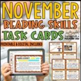 November Reading Skills and Enrichment Task Cards *Aligned