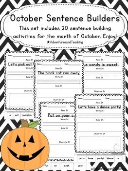 October Sentence Builders {morning work, word work, daily