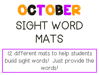 October Sight Word Mats