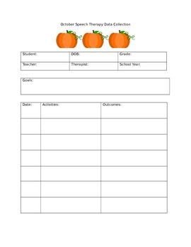 October Speech Therapy Data Collection Sheet