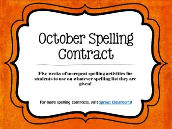 October Spelling Contracts-5 Weeks