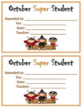 October Super Student Award