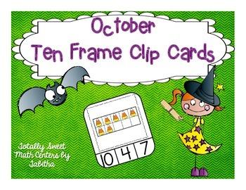 October Ten Frame Clip Cards