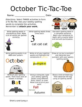 October TicTacToe Spelling with 5 Weekly Lists