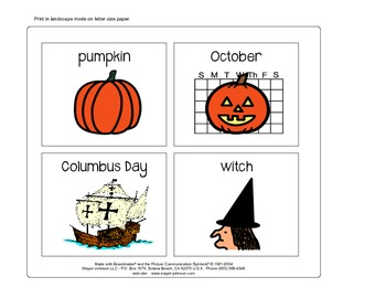 October Vocabulary Cards