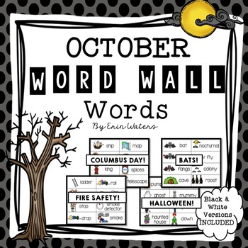 October Thematic Word Wall Words {80 Words for Halloween,