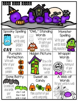 October Word Work Choice Board