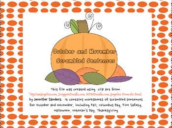 October and November Scrambled Sentences