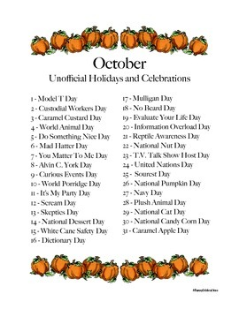 October's Unofficial Holidays and Celebrations: Daily Info