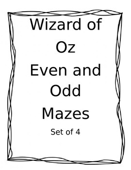 Odd and Even Number mazes Wizard of Oz theme
