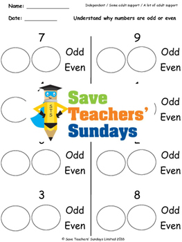 Odd and even numbers worksheets (3 levels of difficulty)