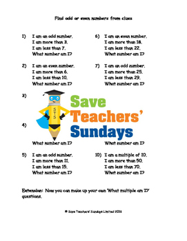 Odd or even and multiples from clues worksheets (3 levels