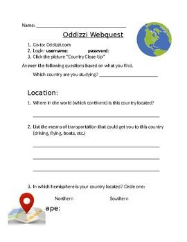 Oddizzi (Odyssey) Webquest