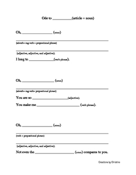 Ode Writing Template